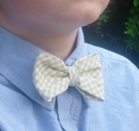 Tan Plaid Bow Tie - clip on