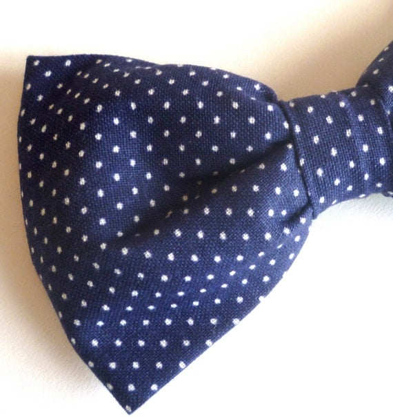 Navy Blue Pin Dot Bow tie and matching Supenders - clip on - ring bearer outfit