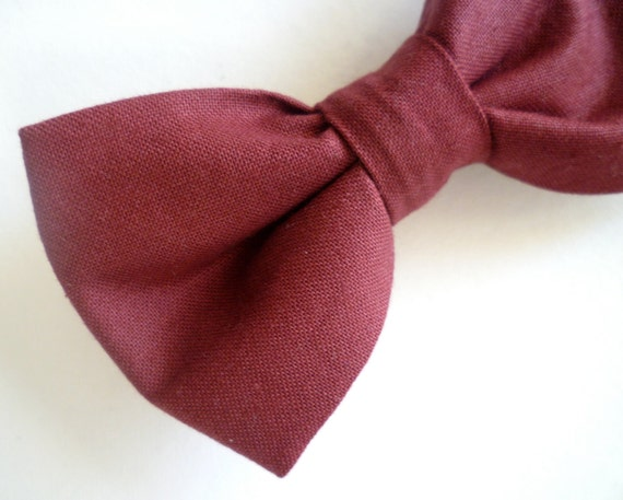 Men's Bow tie in solid Burgundy - clip on, pre-tied adjustable strap, self tying