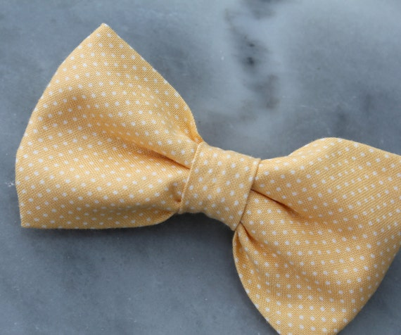 Bow tie in Soft Yellow Pin dots - Clip on, pre-tied adjustable strap or self tying - ring bearer outfit, groomsmen gift