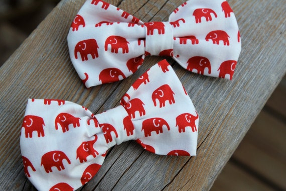 Red Elephant Bow tie - clip on, pre-tied adjustable strap or self tying / freestyle