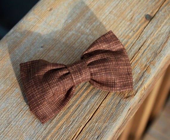 Men or boys Crosshatch in Brown Bow tie - clip on, pre-tied adjustable strap or self tying