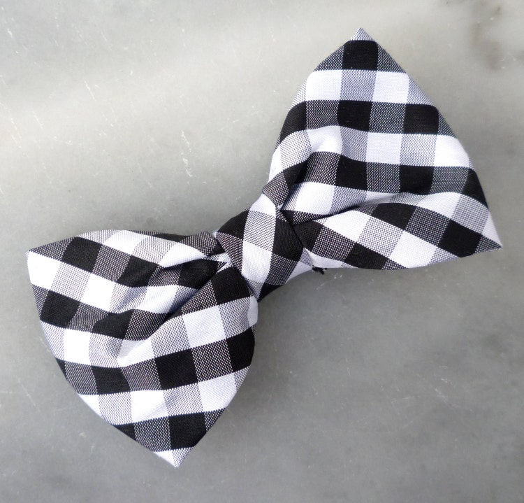 Black And White Plaid Silk Bow Tie Clip On By