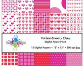 Valentine's Day Digital Paper Pack - 15 Papers