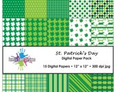 St. Patrick's Day Digital Paper Pack - 15 Papers