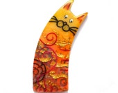 Cat brooch MIRKA - Unique Art Brooch - polymer clay kitty orange yellow red