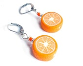 ORANGE SLICES earrings, STERLING silver 925 leverback, Valentine's gift, polymer clay orange millefiori, handmade earring with silver wire