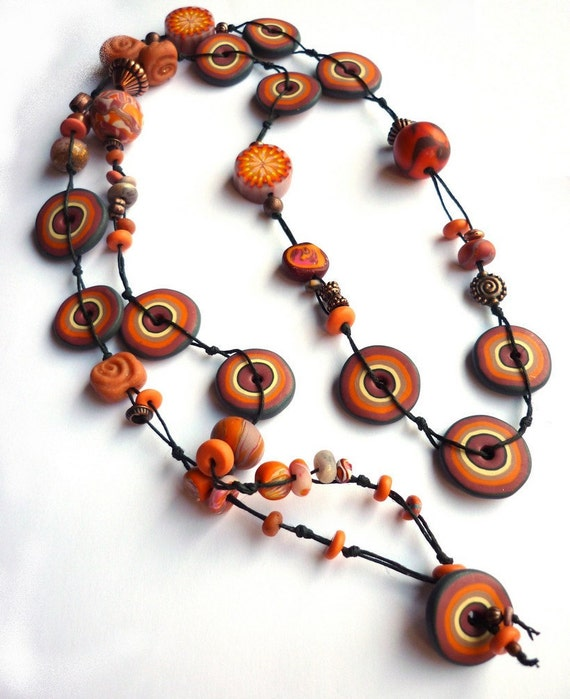 Polymer clay necklace, Long Boho chic necklace earthy tones terracotta Artisan made jewelry bohemian sautoir - warm colors - handmade beads