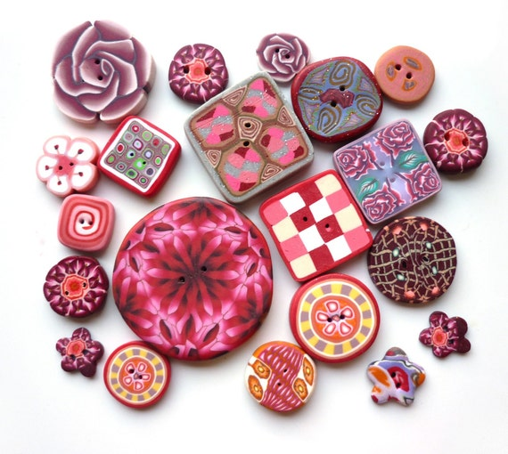 set of 21 buttons - pink red orange - handmade polymer clay