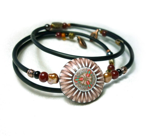Bracelet on memory wire - intricated focal polymer clay bead - brown/black/ivory