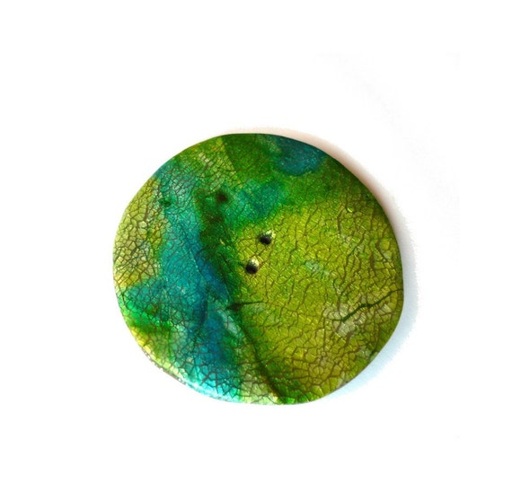 """Large bag button, Emerald green turquoise, big button 2""""1/4 - 55mm - Handmade polymer clay - unique"""