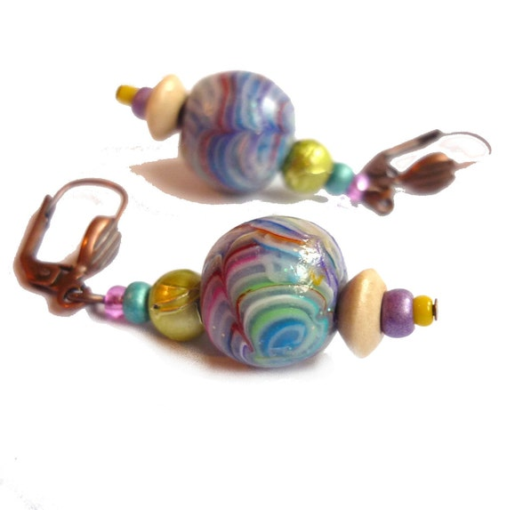 "RAINBOW earrings - polymer clay 1""1/4 beads - handmade - everyday jewelry"