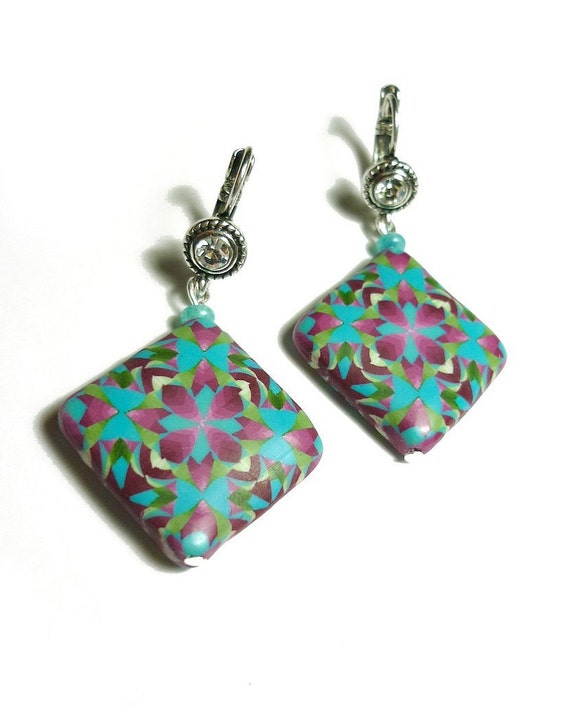 Turquoise purple Earrings - intricated beads, strass leverback