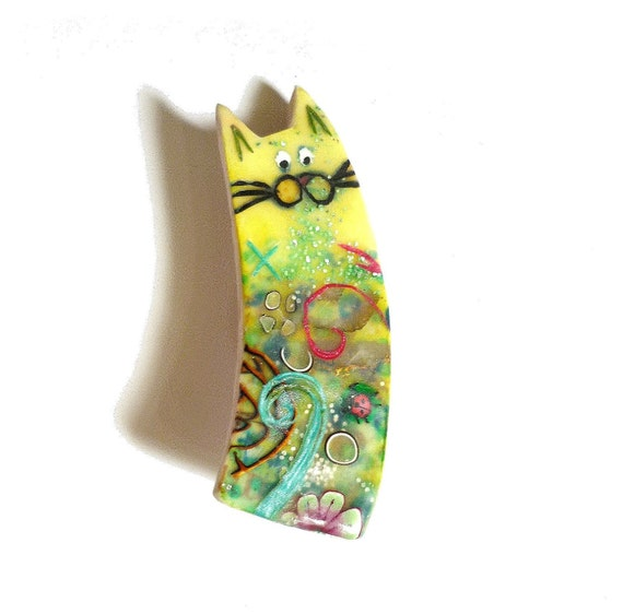 Cat brooch NINO- Unique Art Brooch - polymer clay kitty yellow green blue- one of a kind