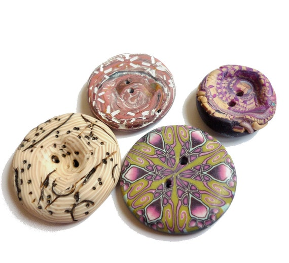 RESERVED listing for TANYA --- Ethnic buttons - Set of 4 - textured and millefiori polymer clay - handmade  unique set