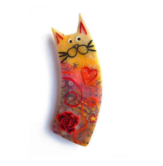 Cat brooch ELISA - Unique Art Brooch - polymer clay kitty, orange yellow red, chat - OOAK