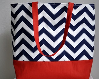 SALE Large Nautical Tote Beach Bag Blue Zig Zag Chevron and Red Canvas- Ready to ship