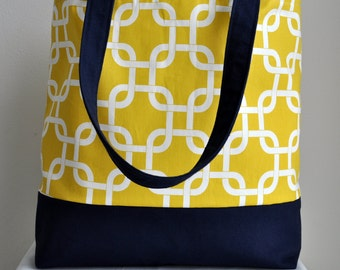 Medium Beach Tote Yellow and Navy Nautical Gotcha Corn Yellow Fabric  Beach Tote READY to SHIP NOW