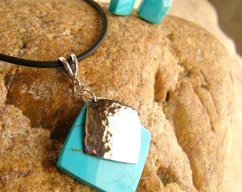 Geometric Jewelry SHIPS IMMEDIATELY Handmade Square Composite Turquoise Blue Necklace Earrings Rubber Cord Handmade Birthday Gifts for Her