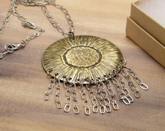Sunflower Necklace SHIPS IMMEDIATELY Handmade Hammered Mixed Metals Necklace