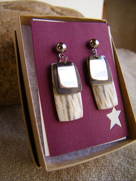 Elk Antler Earrings - Western Elk Antler Pendant Earrings - Gifts Under 25 - Western Jewelry - Ready to Ship