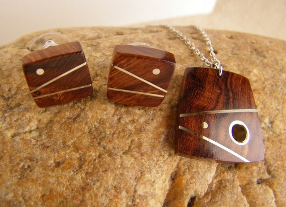 Gift Set - Wood Jewelry - Inlaid Desert Ironwood Necklace and Earrings Set - Gifts for Her - Gifts Under 60 - Ready to Ship