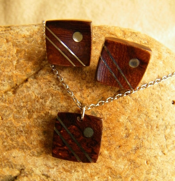 Wooden Jewelry - Handmade Wood Necklace and Earrings Set - Gifts for Her - 5th Anniversary Gift - Wood Anniversary - Ready to Ship
