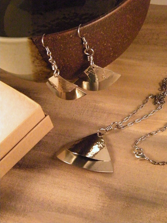 Mixed Metals Geometric Jewelry Handcut Hammered Nickel Silver Necklace and Earrings Set Handmade Birthday Gifts for Her - Ready to Ship