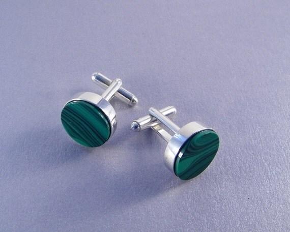 Round Green Cuff Links - Green Malachite Cuff Links - Gifts for Groomsmen - Wedding Cufflinks