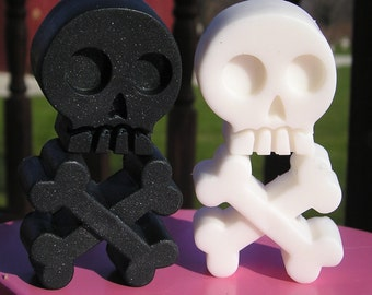 Organic Skull & Crossbones Soap - YOU PICK ONE Scent - 4 Piece Total - Vegan Bath Guest Decorative day of the dead black white