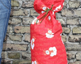 Plus Size - Extra Large Sized - Christmas Reusable Gift Bag for all your gifts or for one BIG gift - Toy bag