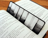 Bookmark with Panoramic Black and White Photo, Old Orchard Beach Seagulls Photograph, 7x2""
