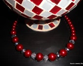 3pc. Red Pearl Necklace Set