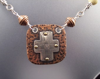 Riveted silver/copper cross pendant necklace