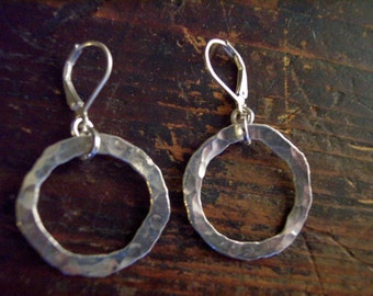 Fine silver hammered earring cicles