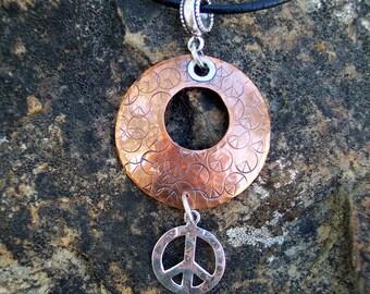 Copper & sterling silver peace pendant