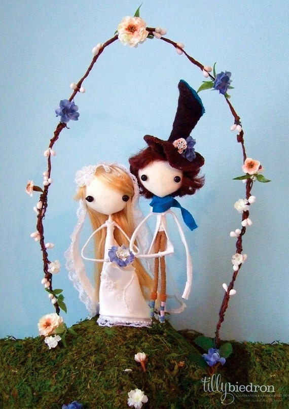 Handcrafted Whimsical and Charmingly Romantic Keepsake Wedding Cake Toppers