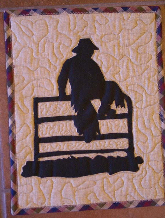 Western Mini Wall Quilt Silhouette Of Cowboy On A Fence