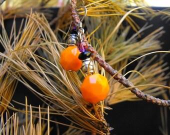 Orange Bead and Silver Earrings