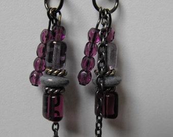 Purple Crystal and Gunmetal Chain Dangle Earrings