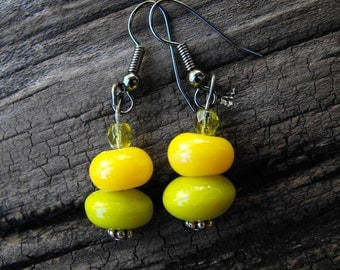 Lime and Yellow Beaded Earrings