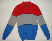 Lido Wool Men's Colorblock High Collar Sweater/Royal Blue/Red/Gray/Size Large