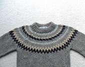 Cozy Heathered Gray Wool Nordic Pullover Sweater by Dean's of Scotland Vintage Size Large