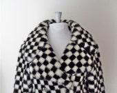 Mod Coat /  Black & White Checkerboard / Faux Fur / by Demilo / Div. Of Dan Millstein / Size Large