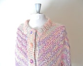 "80s Ribbon Detail Cardigan Sweater / Mohair or Wool / Ribbon Weaving / 52"" Bust"