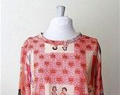 70s Novelty Shirt / Al Teatro Nuovo Print / Size Medium