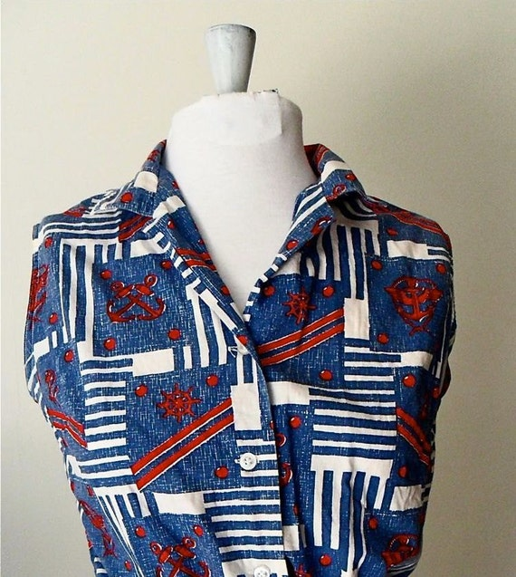 70s Cropped Top / Nautical Print / Sleeveless / Bow Tie at Waist / by Jeanie / Size Medium