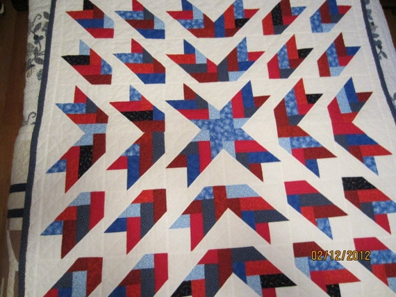 Patriotic Arrows Quilt, Wall Hanging, Lap Quilt, Throw, 44 x 44 Red, White & Blues