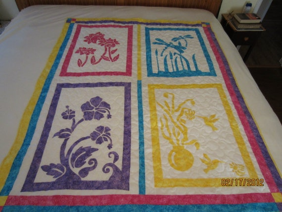 Silhouettes Quilt, Wall Hanging, Lap Quilt, Throw, Crib Quilt 49 x 60