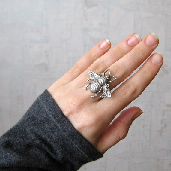 Bee ring - Bumble bee ring - Bumblebee ring - honey bee ring - antique silver or antique brass - READY TO SHIP
